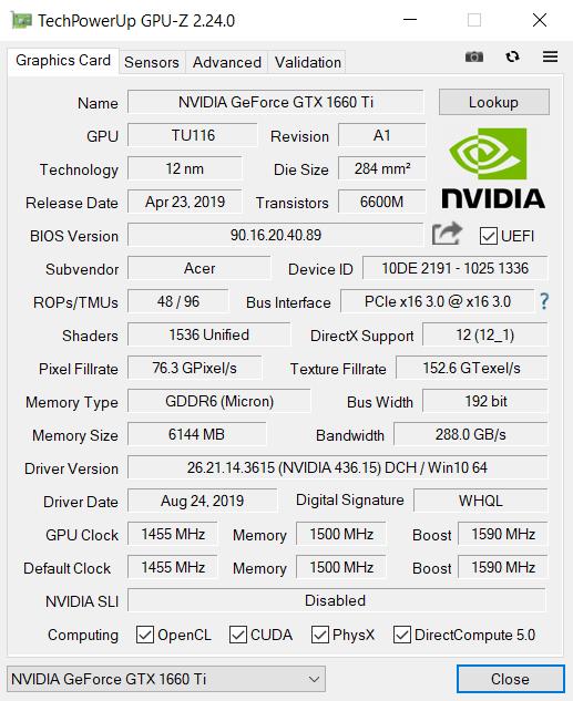 Acer-Nitro-7 NVIDIA GeForce 1650