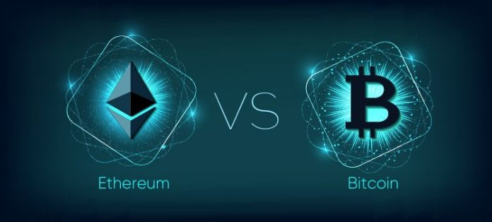 Ethereum and bitcoin symbols with versus written in the middle of them