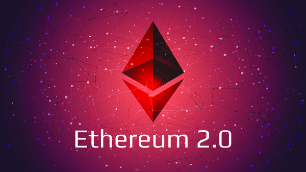 Picture of ethereum symbol with Ethereum 2.0 written underneath it.