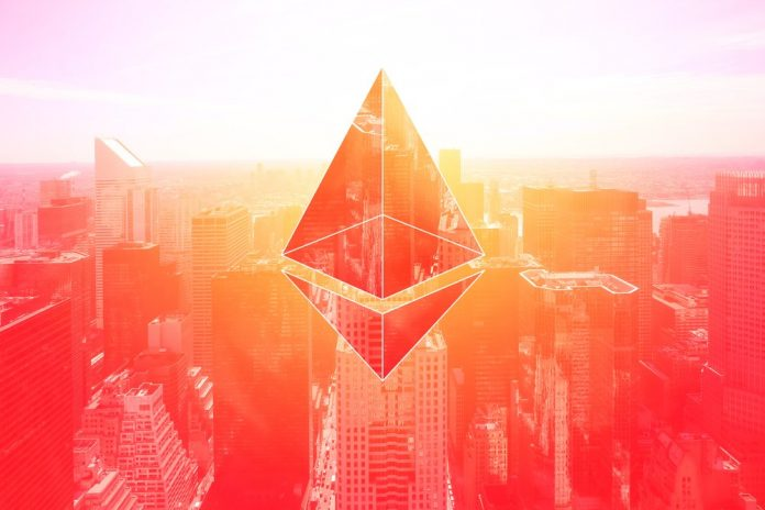 Picture of an ethereum symbol above a city with a red hue