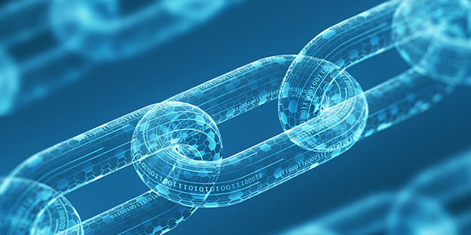 Three diagonal digital chains on a blue background