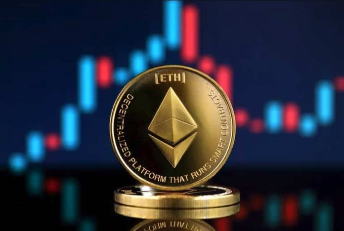 An ethereum coin standing in front of a candlestick chart